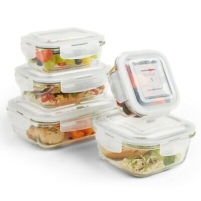 VonShef 5 Piece Glass Container Food Storage Set with Lids