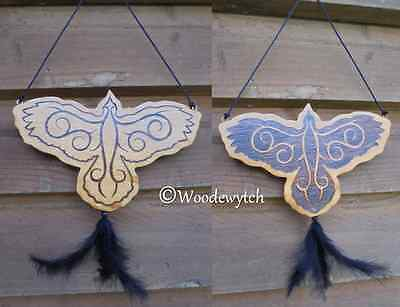 Raven double sided hanging Totem feather Wiccan Pagan crafted handburned wood