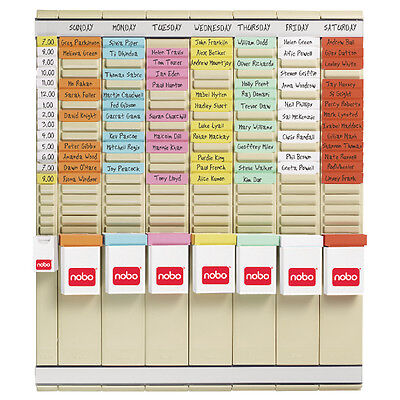 COMPLETE NOBO T-CARD Holder Board Weekly Planner 7 Panel x 24 Slot System Kit
