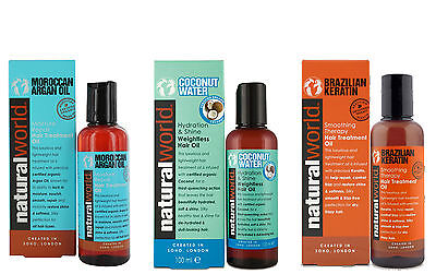 Natural World Hair Treatment Oil Range -Argan Oil,Coconut Water,Bazilian Keratin