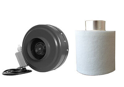 """6"""" Inch Inline Hydroponic Duct Fan Carbon Filter Blower"""