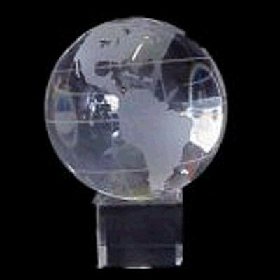 Crystal Etched World Globe on Cube Stand Statue Home Office Decor