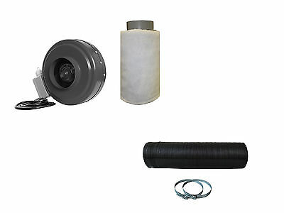 """4"""" Inch Inline Hydroponic Duct Fan Carbon Filter Blower W/Ducting&Clamp"""