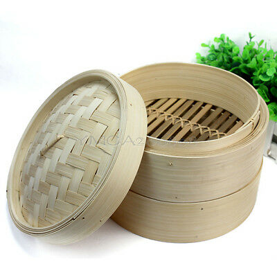 2 Tier Bamboo Steamer Set Kitchen Cookware with Lid for Dim Sum Rice Pasta Meat