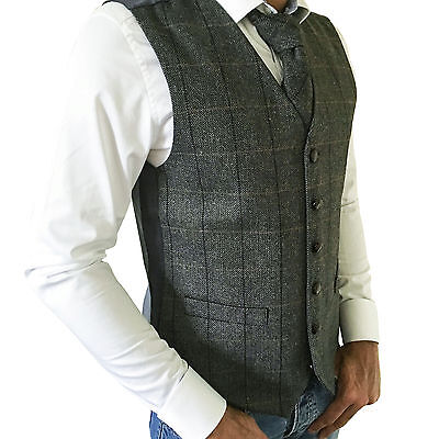 Mens Wool Blend Tweed Grey Check Herringbone Waistcoat/vest - Sizes Small - 2Xl