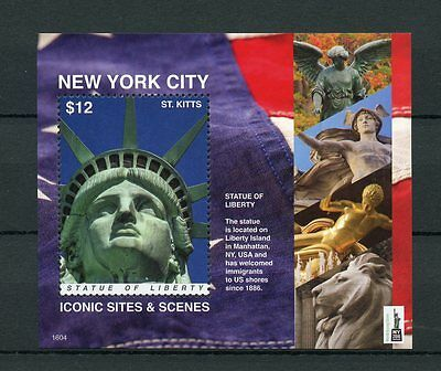St Kitts 2016 MNH New York Iconic Sites NY2016 1v S/S Statue of Liberty Stamps