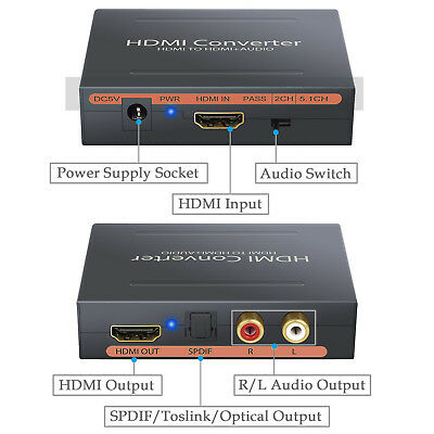 HDMI to HDMI + SPDIF + RCA L / R Audio Toslink Optic Extractor, Converter