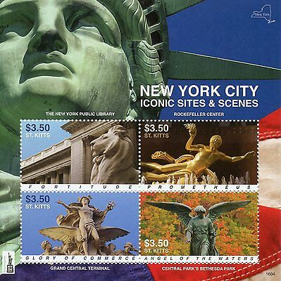St Kitts 2016 MNH New York Iconic Sites & Scenes NY2016 4v MS Rockefeller Center