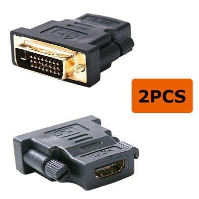 2 PCS HDMI female to dvi 24+1 male Coupler m/F Extender Adapter connector gold