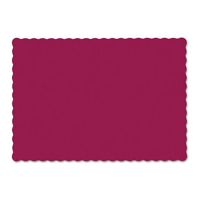 Solid Color Scalloped Edge Placemats, 9 1/2 x 13 1/2, Burgundy, 1000/Carton