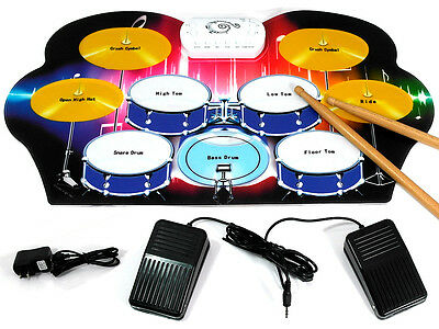 D'Luca Roll Up Portable 9 Pad Electric Drum Set Kit M312