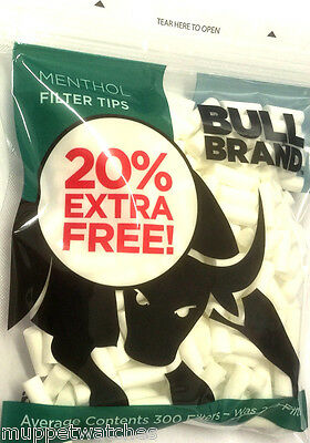 2 x BULL BRAND 6mm MENTHOL Resealable Bag of 300 Cigarette Tobacco FILTER TIPS