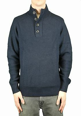 CCC Canterbury of New Zealand Navy Henley Elbow Patch Sweater Sz XL $158 NEW
