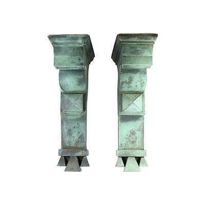 1905 Antique Copper Corbels Architectural Salvage Bracket Classical Verdigris Pr