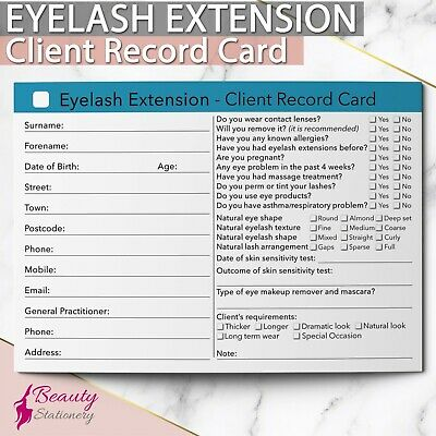 Eyelash Extension Client Record Card Treatment Consultation Therapist Salons A6