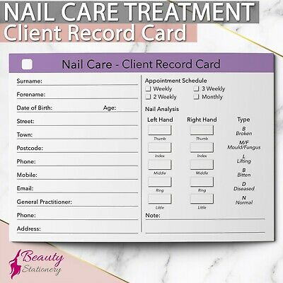 Nail Care Client Record Card Treatment Consultation Pedicure Manicure Salons A6
