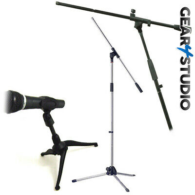 Microphone Mic Stand Desktop and Floor standing Black/Silver for Stage Home DJ#