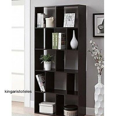 Espresso 12 Shelf Bookcase Modern Home Decor Office Furniture Storage Bookshelf