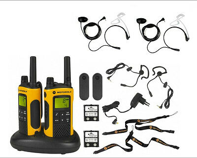 Walkie Motorola T80 Extreme PMR Twin Pack + headsets + 2 Throat Mics + suitcase