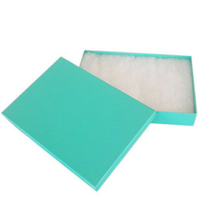 "SALE! Lot of 12 pcs 8 1/8""x5 5/8""x1 3/8"" Teal Green Cotton Filled Jewelry Boxes"