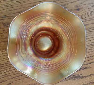 Northwood Carnival Glass ~ GRAPE ARBOR ~ Hat Shape Bowl, Marigold color