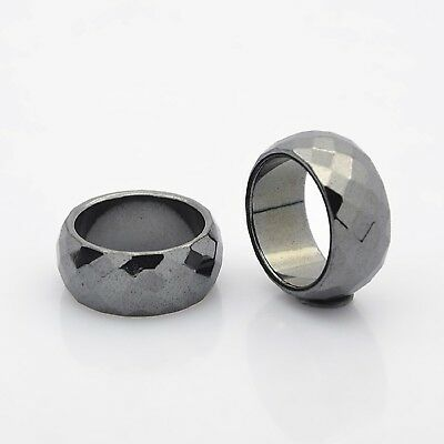Magnetic Hematite Faceted Ring  Arthritic Pain & BP 19mm Dia 10mm Wide(J005-02)