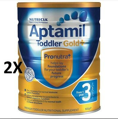2 X Aptamil Gold+ 3 Toddler Nutritional Supplement From 1 year 900g