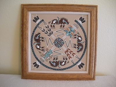 Vintage NATIVE AMERICAN NAVAJO INDIAN SAND PAINTING FRAMED SIGNED TOM CLAH CLARK
