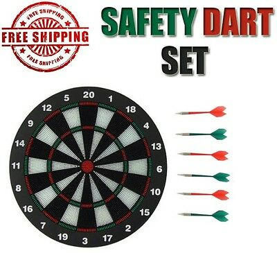 NEW Dart Board Safe Xmas Gift with 6 Soft Rubber Tip Darts for Kids and Adults