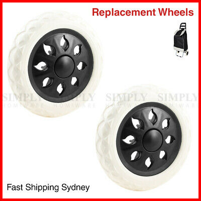 2x Replacement Wheels Shopping Cart Replace Trolley Foldable Luggage Black White