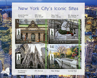 Young Island Gren St Vincent 2016 MNH New York City Iconic Sites NY2016 4v M/S