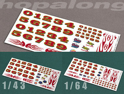 Scalextric/Slot Car 1/43 & 1/64 Scale Waterslide Decals.