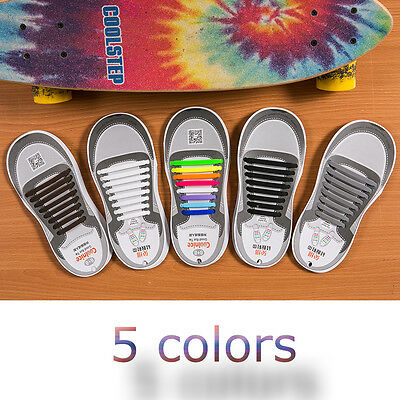 Genuine Coolnice® No Tie Shoelaces Elastic 100% Silicone 16pcs For Plus Adult US