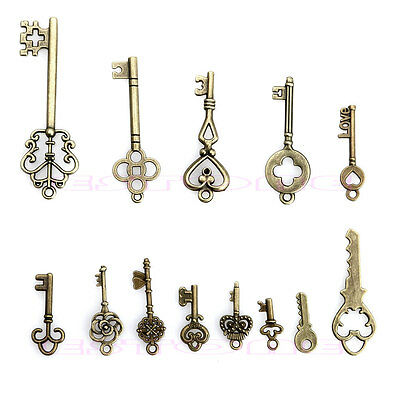 13pcs Vintage Old Look Bronze Skeleton Key Pendant Heart Bow Lock Steampunk Set