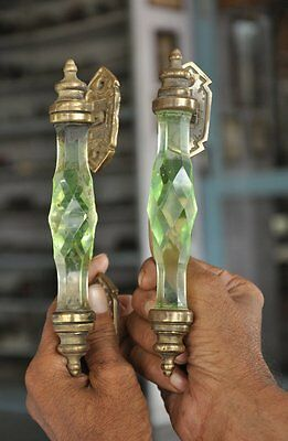 2 Pc Vintage Glass & Brass Green Handcrafted Victorian Cut Glass Door Handle