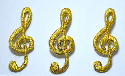 3pc GOLDEN MUSIC NOTES CLEF  Embroidered Iron Sew On Cloth Patch Badge  APPLIQUE