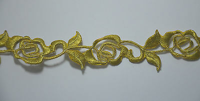 15cm GOLD FLOWERS EDGE TRIM Embroidered Iron Sew On Cloth Patch Badge  APPLIQUE