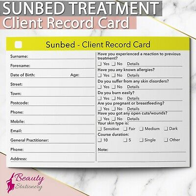 Sunbed Client Record Card Treatment Consultation Beauty Salons Spa A6