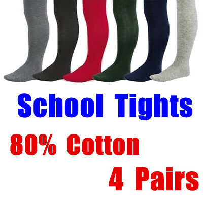 4 Pairs Kids Girls Plain Cotton Rich Opaque School Tights Stockings Pantyhose Sz