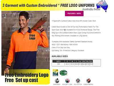 3  x HI VIS  Work shirts with Your Embroidered * FREE  LOGO  WORKWEAR 044