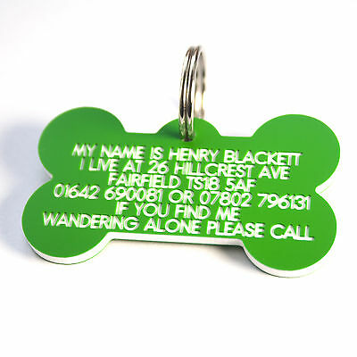 Engraved Plastic Dog tag Bone shape 58mm x 33 mm
