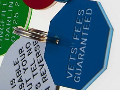 Quality Engraved Pet tag-Med 32mm octagonal Acrylic tag • EUR 5,45