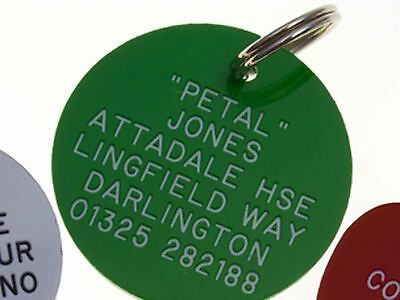 Quality Engraved Pet tag -Large 38mm circle Acrylic tag