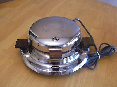 Vintage Waffle Iron 1940's Chrome Wood Handles Dominion #1305  Red Light