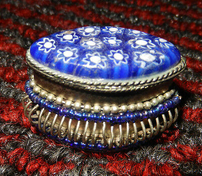 Unique Antique Hand Crafted Glass and Bead Jewellery Box / Pill Box Collectible