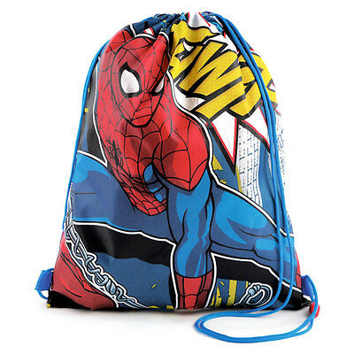 Disney Spiderman School Gym Sport PE Bag Swimming Drawstring Trainer Backpack