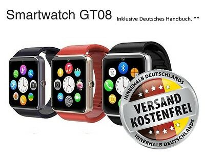 GT08 Smartwatch Bluetooth für Iphone iOS + Android mit Kamera