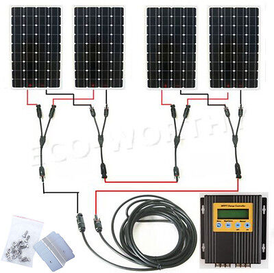 600Watts Monocrystalline Solar Panel System 4*160W with MPPT Controller Battery