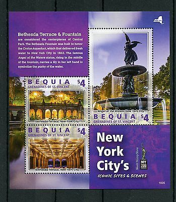Bequia Gren St Vincent 2016 MNH New York Iconic Sites & Scenes NY2016 3v M/S