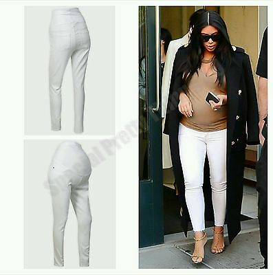 Maternity White Over Bump Ankle Skinny Jeans Holiday Pregnancy Trousers M & XL